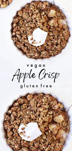 Healthy apple crisp recipe with oats (apple crumble) gluten free. Oil free, refined sugar free, quick and easy to make: Recipe from the Easy Vegan Eats ebook. . . . #applecrisp #fallrecipes #vegandessert #glutenfree #easyapplecrisp #dairyfreedessert #applecrumble #applepie #falldessert #falldesserts #fallsweets #healthy #bestapplecrisp #oilfree #autumnrecipes #fall #apple #appledessert #applerecipe #fallfood #easydessert #vegan #dairyfree #healthy Vegan Apple Crisp, Gluten Free Apple Crisp, Apple Crisp Easy, Apple Crisp Recipes, Healthy Vegan Desserts, Vegan Dessert Recipes, Delicious Vegan Recipes, Eat Seasonal, Sugar Free Desserts