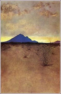 A Lonely Mountain at Sunset by Maxfield Parrish, 1902