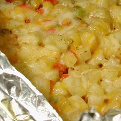 Grilled Cheesy Potato Packets recipe = A great side dish… easy to make… perfect for a BBQ or camping!