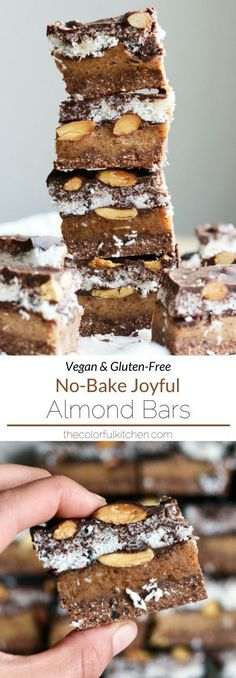 No-Bake Joyful Almond Bars -- Vegan + Gluten-Free recipe | These bars are like the baby of an Almond Joy and Mounds candy bar, but with a much healthier ingredient list. With multiple layers of yum, they take about an hour to make, but if you love coconut, chocolate and almond as much as I do, they're more than worth it! | The Colorful Kitchen #vegan #plantbased #healthyrecipe #glutenfree