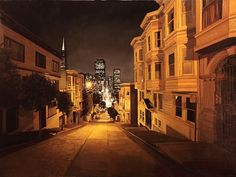 """""""Looking down Kearny St. at night"""", oil on panel, 26"""" x 48"""" by my new favorite painter, Greg Gandy"""