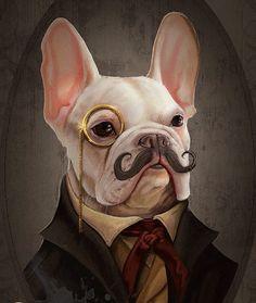 A Very Dapper French Bulldog, pop art, illustration.