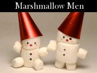 DIY Merry Marshmallow Men.... use icing and they would be edible...tutorial