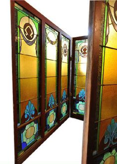 Large Panel Stained Glass Windows with Alpha and Omega