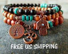 Set of 3 Yoga bracelets Turquoise with Om Hamsa by LifeForceEnergy, $34.00