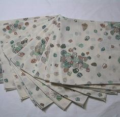 Set of 11 Vintage 1980s Sea Shell Dinner Napkins In Green & Brown, Ocean Beach Theme Table, Collecting Seashells, 16.25 Inches Square by VictorianWardrobe on Etsy