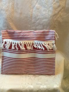 Clutch purse, tablet bag, red & beige with fringe & 2 exterior pockets for phone and keys