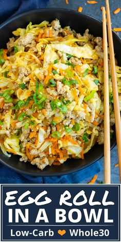 This Egg Roll in a Bowl recipe is loaded with Asian flavor and is a Paleo, gluten-free, dairy-free and keto recipe to make for an easy weeknight dinner. From start to finish, you can have this healthy and low-carb dinner recipe ready in under 30 minutes! Whole30 Dinner Recipes, Low Carb Dinner Recipes, Keto Dinner, Dinner Meal, Fish Dinner, Quick Chicken Dinner Recipes, Quick Meals For Dinner, Sugar Free Recipes Dinner, Low Cholesterol Recipes Dinner