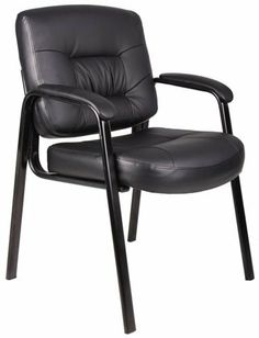 Boss Black Leather Plus Guest Chair Black by BOSS. $100.96. Beautifully upholstered with imported Italian Full-Grain Leather, Passive ergonomic seating with built-in lumbar support, Padded armrests covered with Caressoft upholstery, black polished steel legs, Matching side chair for model B7501, Arm Height: 26-inch H, Seat Size: 20-inch w x 17-inch W, Seat Height: 19.5-inch H, Overall Size: 23.5-inch W x 24-inch D x 34.5-inch H. Save 48%!