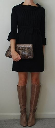 chic little black dress + boots  http://pinterest.com/uorlonline/competition #womensfashion #office #fashion #style #work