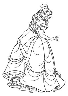Beauty princess coloring pages for kids, printable free