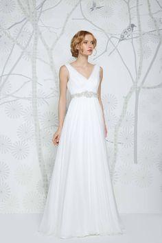 SADONI wedding dress ENYA with flattering v-neckline and draped silk chiffon skirt.