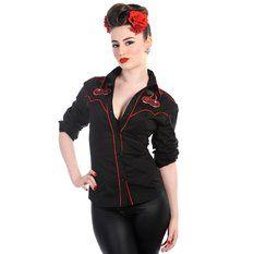 košile dámská s dlouhým rukávem BANNED - Cherry Skulls - Black, BANNED