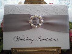 R0019b Lace Silver Grey Wedding Invitation Pearl Diamante Buckle Available from www.vintagelaceweddingcards.co.uk