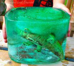 Frozen Dinosaurs. Fun summer kids activity.
