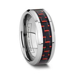 FERRARI A black carbon fiber tungsten ring boasting the same racing red of…