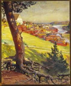 Albert Edelfelt - View of Porvoo from Nasinmaki 1892 Helene Schjerfbeck, Pastel Landscape, Landscape Art, Vincent Van Gogh, Scandinavian Paintings, Social Art, Painter Artist, Art Studies, Les Oeuvres