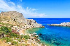 Summer family beach. St Paul's bay, Lindos Rhodes Greece - Agios Pavlos