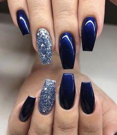 Blue And Silver Nails, Dark Blue Nails, Navy Nails, Blue Glitter Nails, Blue Coffin Nails, Blue Nail Polish, Dark Color Nails, Navy Acrylic Nails, Nail Art Blue