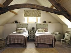 Country Cottage Bedroom, Country Cottage Interiors, Cottage Design, Country Living, Country Style, Bed Valance, Blinds Curtains, Attic Bedroom Designs, Bedroom Ideas