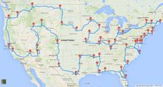 The perfect USA roadtrip. The map, created by Randy Olson with help from Tracy Staedter, pinpoints a mix of 50 major national landmarks, national historic sites, national parks, and national monuments. If you follow the route suggested, you'll travel across all 48 contiguous states and never leave the country. Take a look for yourself below. [...] 13,699 miles of driving — or about 224 hours.