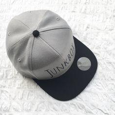Grey & Black UNISEX snapback baseball cap retro by JunkboxCouture