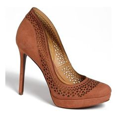 "About 3"" too high for my feet, but I love the detailing. AERIN Spring pump found at Nudevotion.com #darknude"