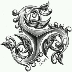 Triskele / Triskellion. I like the center portion of this, how it has a raised/carved appearance. Do  not like the frills towards the ends, however.