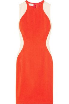 Stella McCartney Victoria two-tone stretch-cady dress | NET-A-PORTER     Bright-orange and blush stretch-cady     Fully lined     Concealed hook and zip fastening at back     64% rayon, 32% acetate, 4% elastane; lining: 60% rayon, 40% polyester     Dry clean     Designer color: Vermillion/ Rose