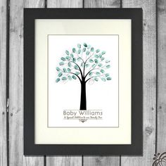 This is a unique alternative to a guest book. Your guests will enjoy placing their thumbprint and signature on your tree and you will love having a keepsake that you can display in your baby's nursery!