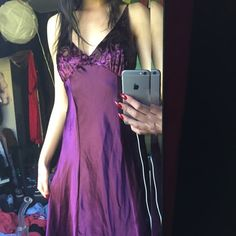 Purple satin and velvet dress Beautiful satin & velvet maxi dress. I wear an XS for reference and it can fit up to a medium. Not the listed brand. Nasty Gal Dresses Maxi