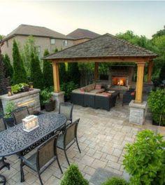 Backyard Gazebo Ideas   Pergola Ideas for Backyard – Images Via: houzz.com #trellisfirepit #pergoladesigns #pergolafireplace