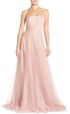 Monique Lhuillier Bridesmaids Strapless Tulle Gown