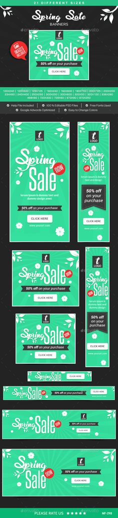 Spring Sale Banners (Photoshop PSD, CS3, adroll, animated banner, banner pack, banner set, banners, business, coupon, deal, discount, flat design, gif banner, google adwords, Google adwords banner, marketing, metro design, multi purpose, promotions, retargeting, sales, social media, spring sale, studio, web banner)