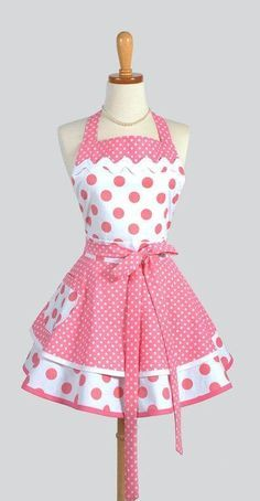 Ruffled Retro Apron - Sexy Womens Apron in Bubblegum Pink Polka Dots Handmade Full Kitchen Apron aww you can microwave burritos in this! Estilo Pin Up, Bodice Top, Cute Aprons, Sewing Aprons, Kitchen Aprons, Kitchen Store, Kitchen Dining, Creation Couture, Aprons Vintage