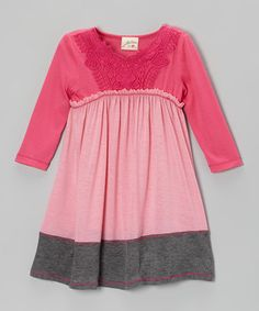 Take a look at this Pink & Heather Gray Lace Dress - Girls by Vanilla Crème on #zulily today!