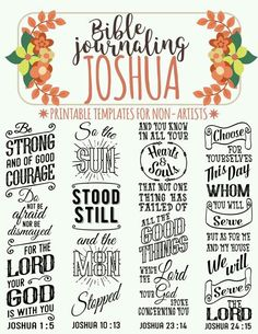 JOSHUA - 4 Bible journaling printable templates, illustrated christian faith bookmarks, black and white bible verse prayer journal stickers JOSHUA printable Bible journaling templates for non-artists. Just PRINT & TRACE! Bible Study Journal, Scripture Study, Bible Art, Bible Prayers, Bible Scriptures, Bible Quotes, Proverbs Quotes, Beautiful Words, Joshua Bible