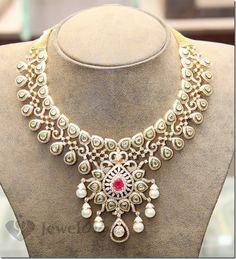 Hiya Indian Diamond and Polki Necklace Pakistani Jewelry, Indian Wedding Jewelry, Indian Jewelry, Bridal Jewelry, Gold Jewelry, Indian Jewellery Design, Jewelry Design, Latest Jewellery, Schmuck Design