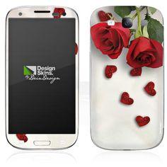 DesignSkins® fra DeinDesign™ - Handy   Organizer - Samsung - Galaxy S3 I9300 - In Love - Roses and Hearts