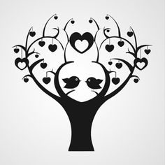 """Tjilp Tjilp Here a """"Love Birds Tree"""" Silhouette/ Template/ Stencil/ Sjabloon for many different purposes! Thinking about: Card making, Wall Decoration, Scrapping, Journals. Love Silhouette, Silhouette Portrait, Silhouette Design, Tree Stencil, Kirigami, Silhouette Cameo Projects, Vinyl Projects, Tree Art, Vinyl Decals"""