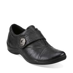 Another flat walking option -- with jeans/casual pants?? I have such a hard time finding flats attractive! Kessa Betty in Black Leather - Womens Shoes from Clarks
