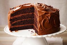 The Ultimate Chocolate Layer Cake—If the stomach is indeed the way to a loved one& heart, then this ultra-decadent chocolate cake is sure to seal the deal. Ultimate Chocolate Cake, Decadent Chocolate Cake, Chocolate Cakes, Dessert Recipes, Desserts, Yummy Recipes, Cupcake Recipes, Recipies, Vegan Recipes