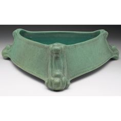 """Teco Pottery - Triangle Bowl with Claw Feet, Number 349. Matte Glazed Pottery. Chicago, Illinois. Circa 1900. 2-3/4"""" x 11-1/2""""."""