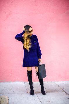Shall We Sasa Velvet sweater dress