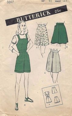 Vintage 1940's Sewing Pattern Shorts Dungarees Overalls WW2 Land Girl W 23 H 31""