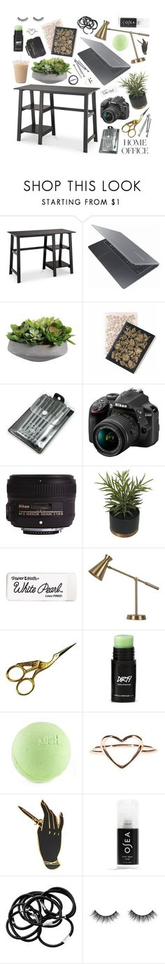 """""""Home Office"""" by corinnamme ❤ liked on Polyvore featuring interior, interiors, interior design, home, home decor, interior decorating, Threshold, Samsung, Nikon and BOBBY"""