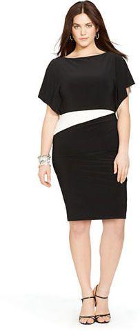 Plus Size Two-Tone Jersey Dress