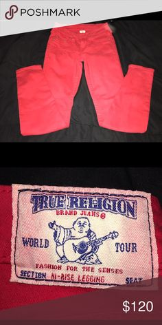 True Religion Jeans Red True Religion Jeans size 24 regular True Religion Jeans Straight Leg