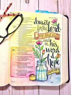 Out of the depths I cry to you, O Lord! O Lord here my voice! Let your ears be attentive to the voice of my pleas for mercy! I wait… Bible Drawing, Bible Doodling, Bible Journaling For Beginners, Bible Study Journal, Art Journaling, Scripture Art, Bible Art, Bible Prayers, Bible Scriptures