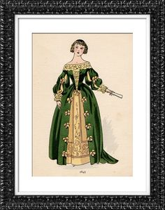 Fashion plate, French, 17th Century 1654 17th Century Clothing, 17th Century Fashion, Baroque Fashion, French Fashion, Vintage Fashion, Baroque Dress, Frocks And Gowns, Historical Clothing, Women's Clothing